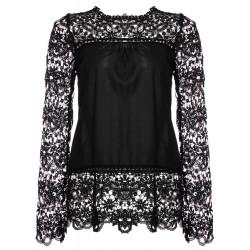 Kvinna Embroidery Lace Crochet Chiffong Långärmad Blus