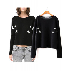 Women Europe Pentagram Pattern Casual Round Neck Pullover Sweater