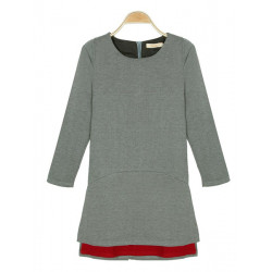 Women Fake Two-piece Gray Long Sleeved  Dress