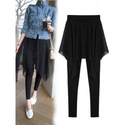 Women Fake Two Irregular Chiffon Leggings Thin Skirts Pants Culotte