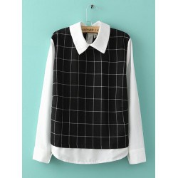 Women False Two Pieces Chiffon Shirt Back Buttons Plaid Blouse