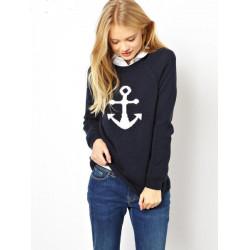 Kvinna Mode Anchor Mönster Pullover Tröja Casual Knitted Cardigan