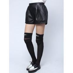 Kvinna Mode Svarta Elastisk Waist Fickor Lös PU Läder Shorts