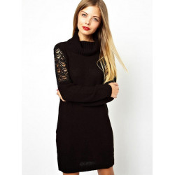 Women Fashion Black High Collar Hollow Lace Sleeve Pullover Sweater