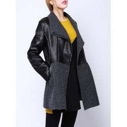 Frauen Mode schwarz PU Leder Patchwork Woll Langarm Mantel