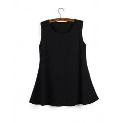 Women Fashion Black Sleeveless Chiffon Loose Tank Tops
