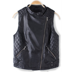 Women Fashion Black Sleeveless PU Leather Vest Jacket Outerwear