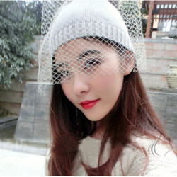 Women Fashion Bowknot Veil Knitted Winter Wool Hat