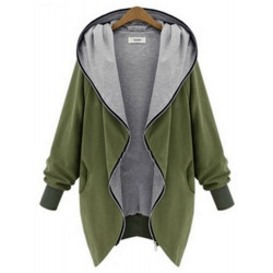 Women Fashion Casual Hooded Large Size Thin Jackets Outerwear Coat