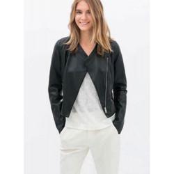 Kvinna Mode Cool Långärmad Slim Svart PU Jacket