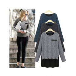 Women Fashion False Two Piece Zipper Long Sleeve Tops Shirts Blouse