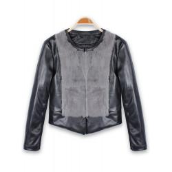 Women Fashion Faux Fur PU Leather Patchwork Jacket Outwear Coat