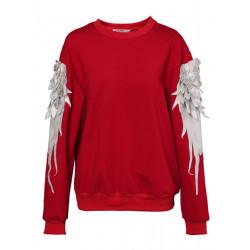 Women Fashion Feathers Embroidery Three Dimensional Fleece Sweatshirt