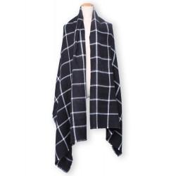 Kvinna Mode Grid Tassel Lång Halsduk Värmande Sjal