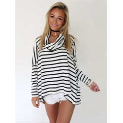 Women Fashion High Collar Stripe Batwing Sleeve Loose T-Shirt Blouse