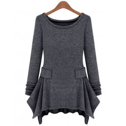 Women Fashion Irregular Hem Long Sleeve Ruffles Slim T-shirt