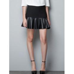 Women Fashion Laminated  Mini PU Leather Skirt A-line Skirt