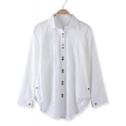 Frauen arbeiten Leinen Zweireiher Langarm Weiß Hemd