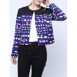 Women Fashion Long Sleeve Geometry Print Casual Jacket Coat