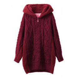 Women Fashion Long Sleeve Hooded Geometric Sweater Coat