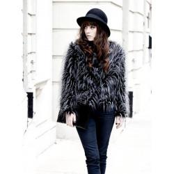 Kvinna Mode Strutsfjäder Fuskpäls Långärmad Kappa