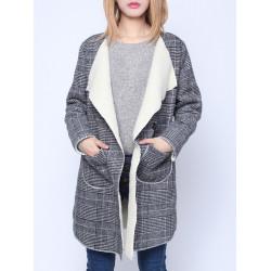 Kvinna Mode Plaid Lapel Fickor Långärmad Fleece Cardigan Kappa