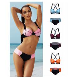 Kvinna Mode Sexy Bikini Summer Hit Färg Nylon Baddräkt 4 Färger