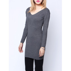 Women Fashion Sexy V-Neck Pullover Long Sleeve Slim Knitted Sweater
