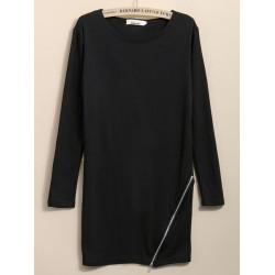 Kvinna Mode Side Zipper Hem Långärmad Slim T-shirt
