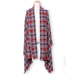 Kvinna Mode Small Grid Plaid Tassel Stickad Sjal Halsduk