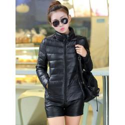 Women Fashion Stand Collar Zipper Pockets Slim Coat Outwear