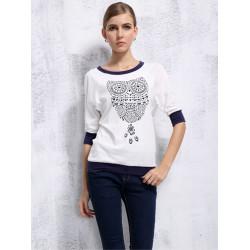 Frauen arbeiten Weinlese Weiß Eulen halbe Hülsen loses T Shirt