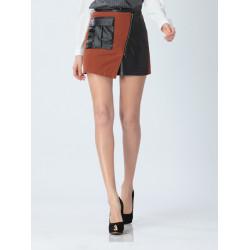 Frauen arbeiten Zipper PU Leder Stitching Röcke