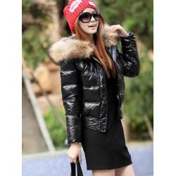 Women Faux Fur Hooded Short Down Jacket Coat Outwear