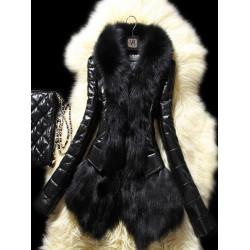 Women Faux Fur Lapel Patchwork Long Sleeve Cardigan Outwear Coat