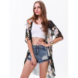 Women Floral Chiffon Sheer Kimonos Loose Long Cardigan