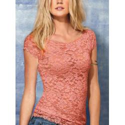 Kvinder Floral Helblonde Kortærmet Shirt Stretch Scoopneck T-shirt