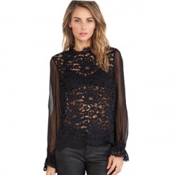 Women Floral Lace Crochete Blouse Sexy Hook Hollow Perspective Tops