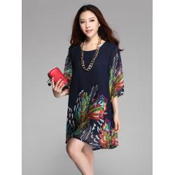 Kvinna Blomster Print Chiffong Halv Ärm Lös Plus Size Klänning