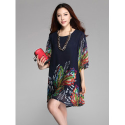 Women Floral Print Chiffon Half Sleeve Loose Plus Size Mini Dress