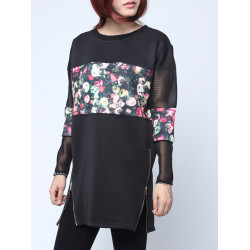 Women Floral Print Patchwork Long Hollow Sleeve Side Zip Sweatshirt