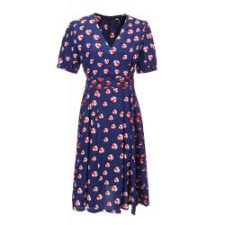 Women Floral Printing Pleated Dark Blue Puff Sleeve V-Neck Dress