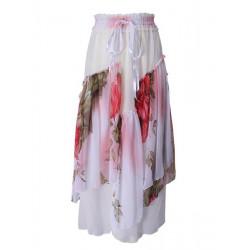 Women Flower BoHO Lotus Leaf Chiffon Maxi Long Skirt