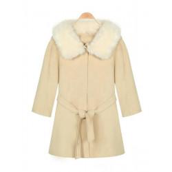 Women Fluffy Collar Three-Quarter Sleeve With Belt Hooded Woolen Coat