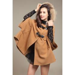 Women Fur Horn Button Bow Hooded Coat Shawl Cape Warm Jacket Coat