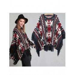 Women Geometry Tassel Macrame Cloak Coat Poncho Cape Knit Sweater