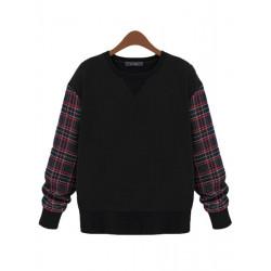 Frauen Gird Patchwork Langarm lose Pullover