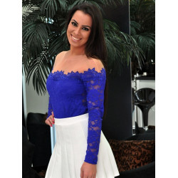 Kvinna Flicka Sexy Mesh Blomster Lace Skinny Blus