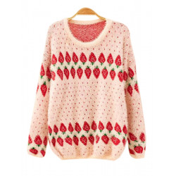 Women Girls Fluffy Strawberry Pattern Loose Pullover Sweater