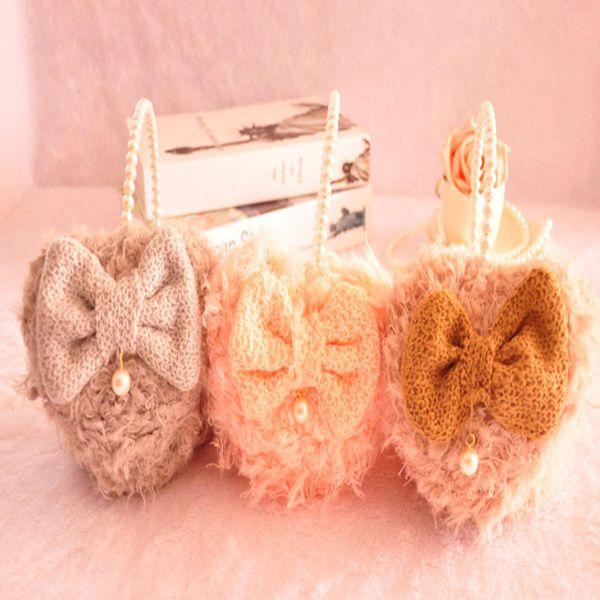 Kvinder Girls Vinter Cute Bow Hearts Shape Beads Fur Varm Høreværn Dametøj